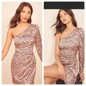 Reformation NWT Hyperion Leopard Print Pink Dress